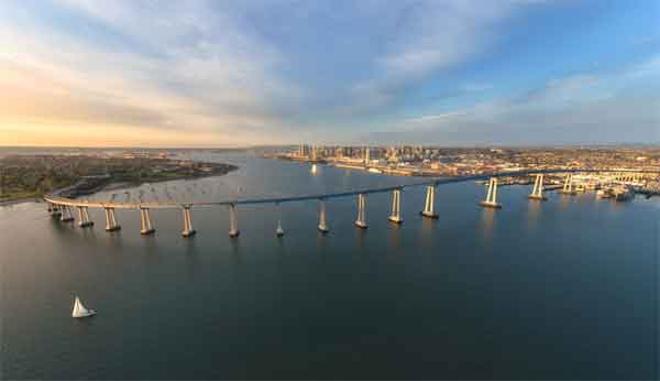 Coronado bridge to Coronado Island is a beautiful ride and vista popular with motorcycle riders and cyclists every year for Bike The Bay with car free bicycle ride..