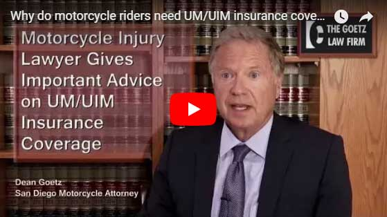 watch the video where Dean explains why it is important for motorcycle riders to get uninsured and underinsured coverage for their motorcycle insurance, UIM, UM.